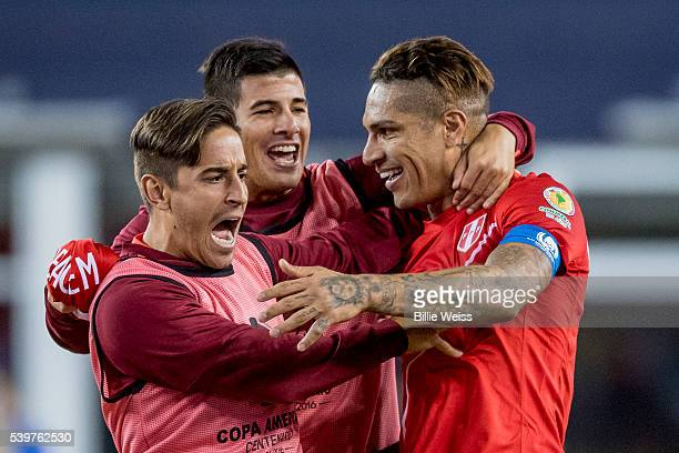 Paolo Guerrero of Peru celebrates with teammates after winning a group B match between Brazil and Peru at Gillette Stadium as part of Copa America...