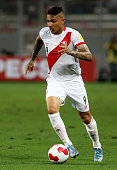 Paolo Guerrero of Peru drives the ball during a match between Peru and Paraguay as part of FIFA 2018 World Cup Qualifiers at Nacional Stadium on...