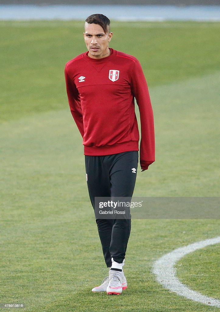 Paolo Guerrero of Peru looks on during a field scouting prior to the semi final match against Chile at Nacional Stadium as part of 2015 Copa America Chile on June 28, 2015 in Santiago, Chile.