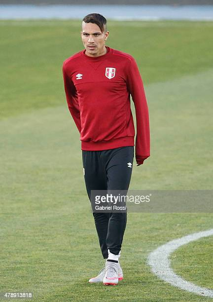 Paolo Guerrero of Peru looks on during a field scouting prior to the semi final match against Chile at Nacional Stadium as part of 2015 Copa America...