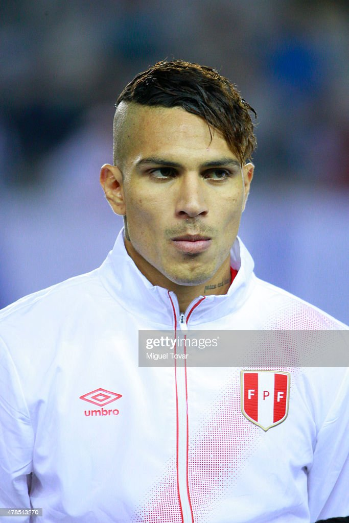 Paolo Guerrero of Peru looks on during the national anthem ceremony prior the 2015 Copa America Chile quarter final match between Peru and Bolivia at German Becker Stadium on June 25, 2015 in Temuco, Chile.