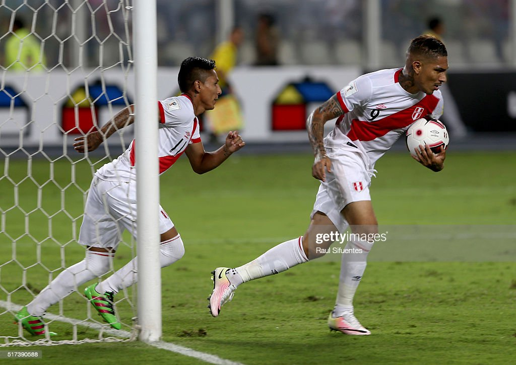 Paolo Guerrero of Peru reacts after scoring the first goal of his team during a match between Peru and Venezuela as part of FIFA 2018 World Cup Qualifiers at Nacional Stadium on March 24, 2016 in Lima, Peru.