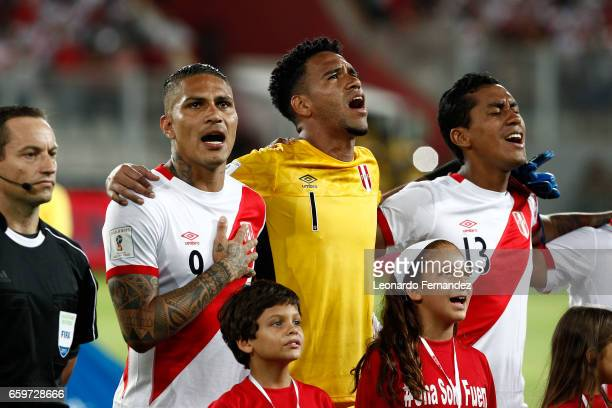 Paolo Guerrero Pedro Gallese and Renato Tapia of Peru sings the national anthem prior to a match between Peru and Uruguay as part of FIFA 2018 World...