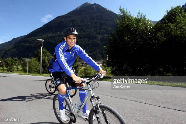 Paolo Guerrero rides his bicycle during the preseason training camp of Hamburger SV at the Aqua Dome hotel on July 28 2010 in Langenfeld Austria