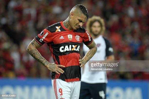 Paolo Guerreroof Flamengo reacts during the match between Flamengo and San Lorenzo as part of Copa Bridgestone Libertadores 2017 at Maracana stadium...