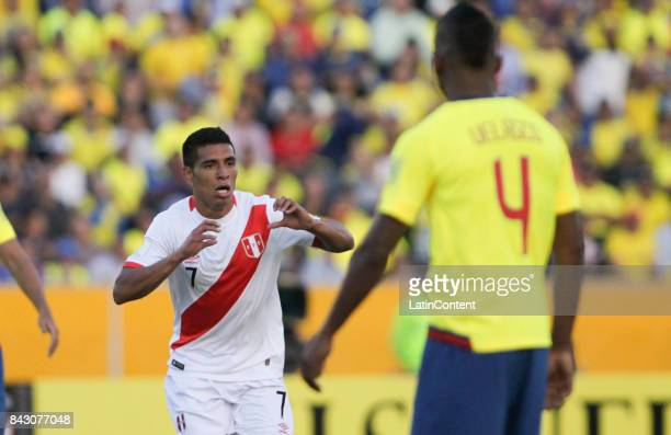 Paolo Hurtado of Peru celebrates after scoring the second goal of his team during a match between Ecuador and Peru as part of FIFA 2018 World Cup...