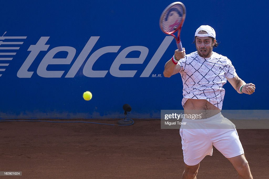 Paolo Lorenzi from Italy in action during a tennis match against David Ferrer from Spain as part of the Mexican Tennis Open Acapulco 2013 at Pacific resort on February 28, 2013 in Acapulco, Mexico.