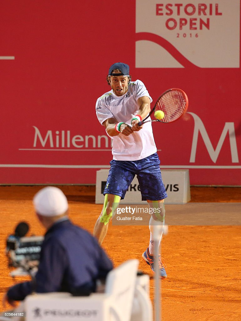 Paolo Lorenzi from Italy in action during the match between Leonardo Mayer and Paolo Lorenzi for Millennium Estoril Open at Clube de Tenis do Estoril on April 28, 2016 in Estoril, Portugal.