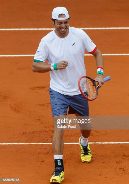Paolo Lorenzi of Italy celebrates after wining a point during a singles match between Carlos Berlocq and Paolo Lorenzi as part of day 3 of the Davis...