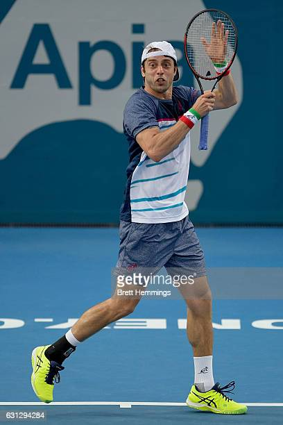 Paolo Lorenzi of Italy celebrates after winning a point in in his first round match against Florian Mayer of German during day two of the 2017 Sydney...