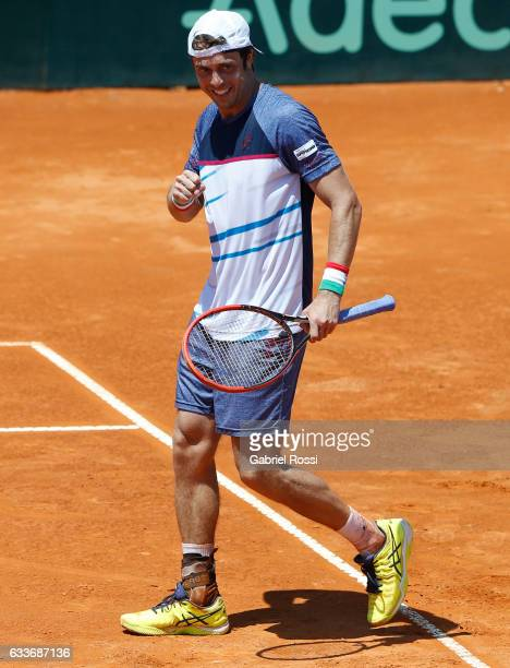 Paolo Lorenzi of Italy celebrates after winning the singles match between Guido Pella and Paolo Lorenzi as part of day 1 of the Davis Cup 1st round...