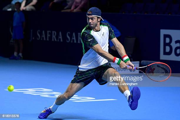 Paolo Lorenzi of Italy in action during the Swiss Indoors ATP 500 tennis tournament match against Kei Nishikori of Japan at St Jakobshalle on October...