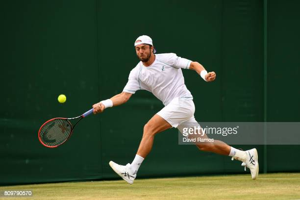 Paolo Lorenzi of Italy plays a forehand during the Gentlemen's Singles second round match against Jared Donaldson of The United States on day four of...