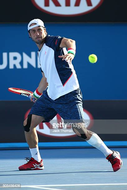 Paolo Lorenzi of Italy plays a forehand in his first round match against Grigor Dimitrov of Bulgaria during day one of the 2016 Australian Open at...