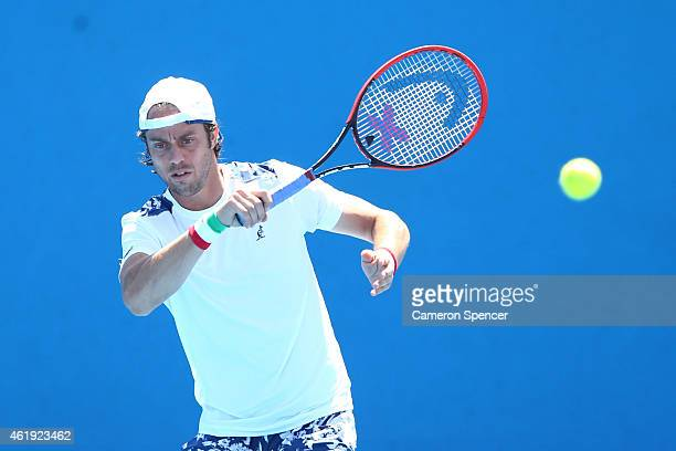 Paolo Lorenzi of Italy plays a forehand in his second round match against Vasek Pospisil of Canada during day four of the 2015 Australian Open at...