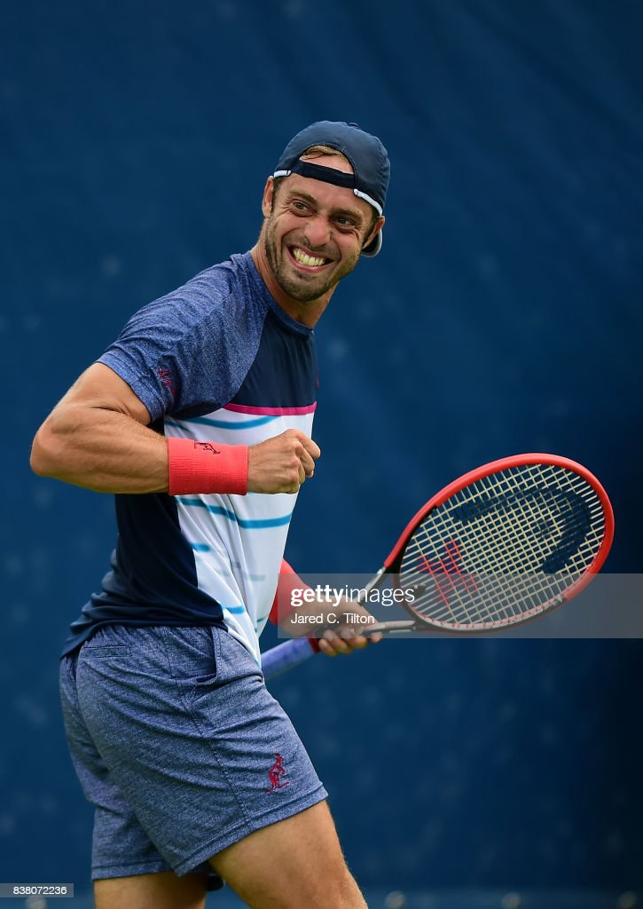 Paolo Lorenzi of Italy reacts after a point against Taylor Fritz during the fifth day of the Winston-Salem Open at Wake Forest University on August 23, 2017 in Winston-Salem, North Carolina.