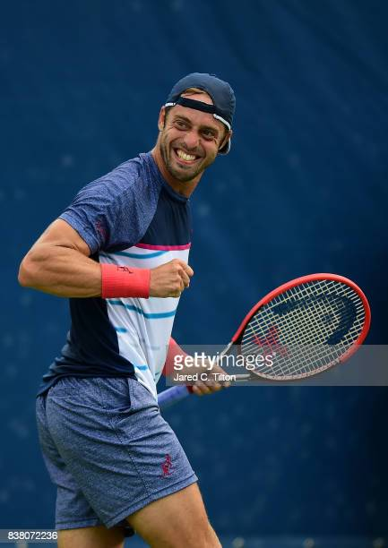 Paolo Lorenzi of Italy reacts after a point against Taylor Fritz during the fifth day of the WinstonSalem Open at Wake Forest University on August 23...