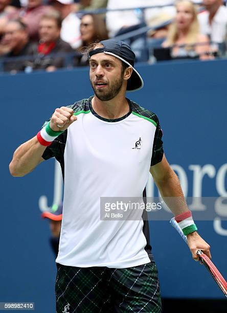 Paolo Lorenzi of Italy reacts against Andy Murray of Great Britain during his third round Men's Singles match on Day Six of the 2016 US Open at the...
