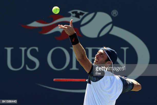 Paolo Lorenzi of Italy serves to Thomas Fabbiano of Italy during their third round match on Day Five of the 2017 US Open at the USTA Billie Jean King...