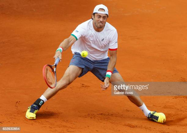 Paolo Lorenzi of Italy takes a forehand shot during a singles match between Carlos Berlocq and Paolo Lorenzi as part of day 3 of the Davis Cup 1st...