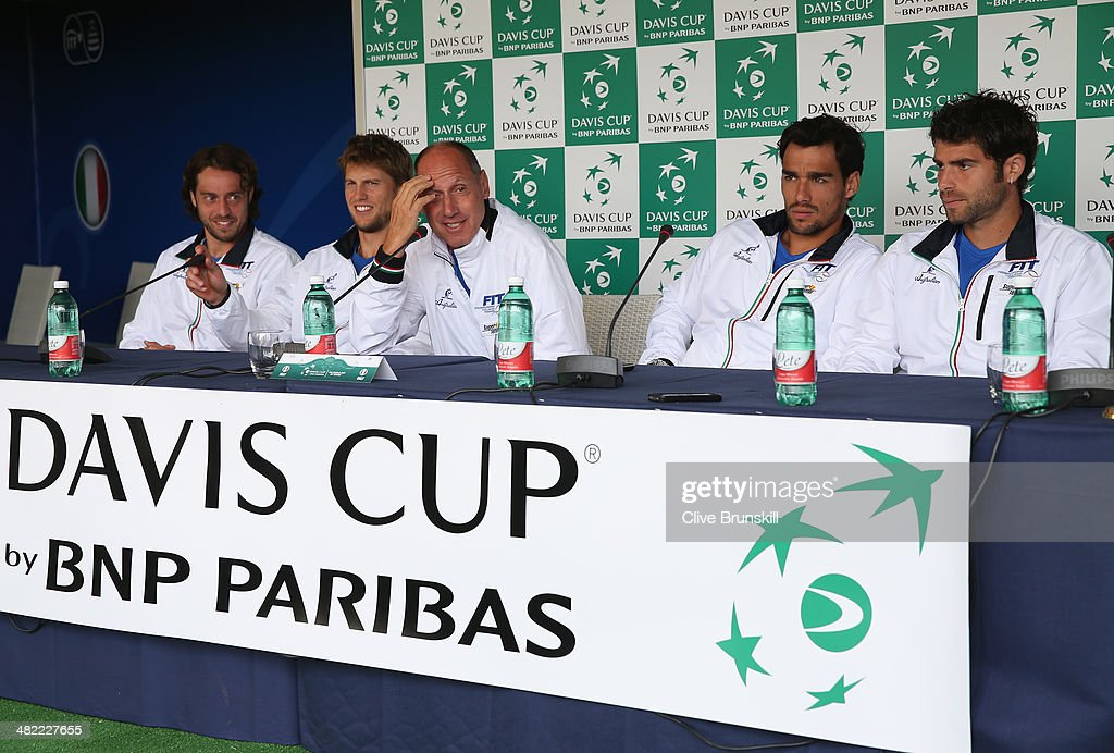 Paolo Lorenzi,Andreas Seppi,Fabio Fognini,Simone Bolelli and team captain Corrado Barazzutti of Italy answer questions from the media after the main draw ceremony prior to the Davis Cup World Group Quarter Final match between Italy and Great Britain at Tennis Club Napoli on April 3, 2014 in Naples, Italy.