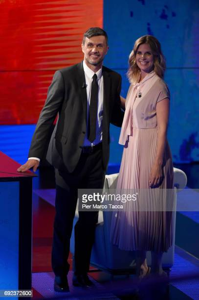 Paolo Maldini and Filippa Lagerback attend 'Che Tempo Che Fa' TV show on June 4 2017 in Milan Italy