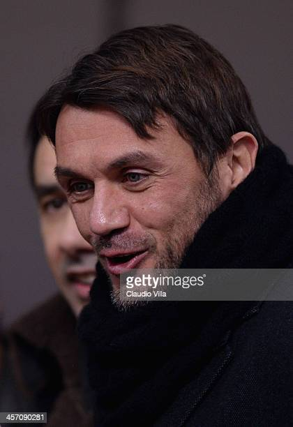 Paolo Maldini attends the Serie A match between AC Milan and AS Roma at San Siro Stadium on December 16 2013 in Milan Italy