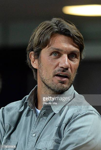 Paolo Maldini attends the Serie A match between AC Milan and Cagliari Calcio at San Siro Stadium on September 1 2013 in Milan Italy