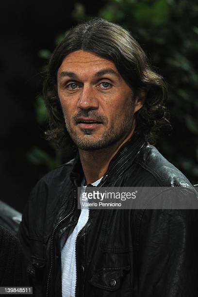 Paolo Maldini attends the Serie A match between AC Milan and Juventus FC at Stadio Giuseppe Meazza on February 25 2012 in Milan Italy
