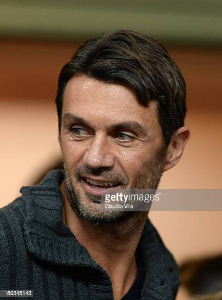 Paolo Maldini attends the Serie A match between AC Milan and SS Lazio at Stadio Atleti Azzurri d'Italia on October 29 2013 in Bergamo Italy