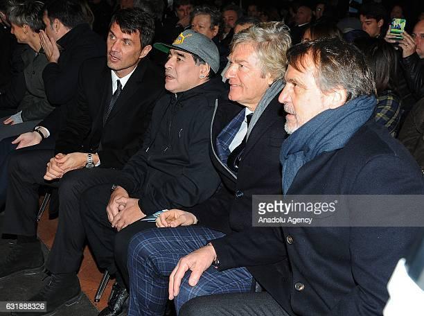 Paolo Maldini Diego Armando Maradona Giancarlo Antognoni Marco Tardelli are seen during the Italian Football Federation Hall of Fame ceremony at...