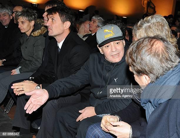 Paolo Maldini Diego Armando Maradona Giancarlo Antognoni Marco Tardelli chat each other during the Italian Football Federation Hall of Fame ceremony...
