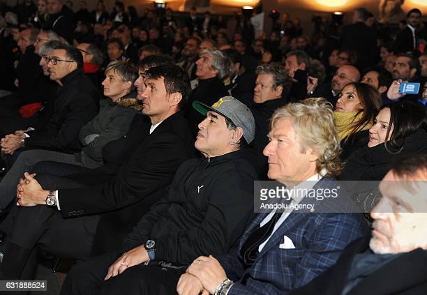 Paolo Maldini Diego Armando MaradonaGiancarlo AntognoniMarco Tardelli participate the Italian Football Federation Hall of Fame ceremony at Palazzo...