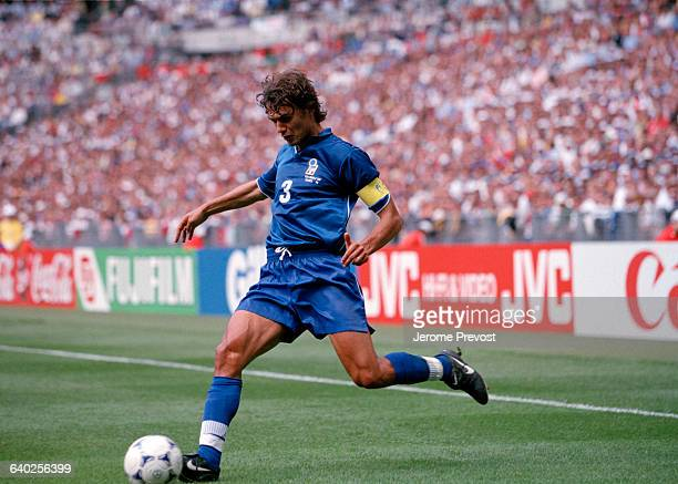 Paolo Maldini in action during a quarterfinals match of the 1998 FIFA World Cup against France France won 00 AET | Location Saint Denis France