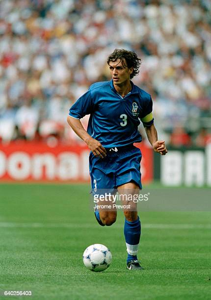 Paolo Maldini in action during a quarterfinals match of the 1998 FIFA World Cup against France France won 43 after overtime and point shoot out |...
