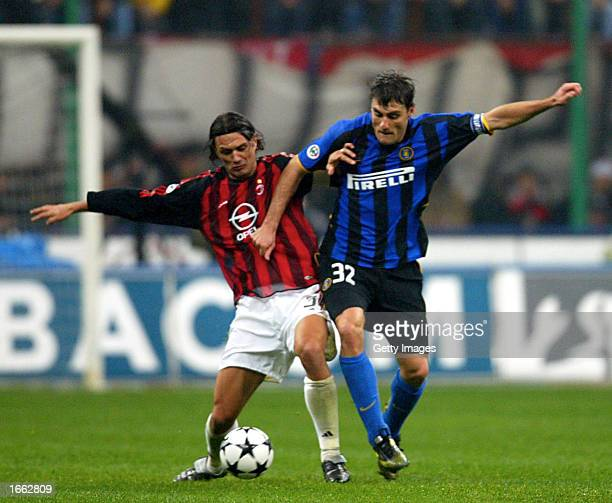 Paolo Maldini of AC Milan and Christian Vieri of Inter Milan in action during the Serie A match between AC Milan and Inter Milan at the Giuseppe...