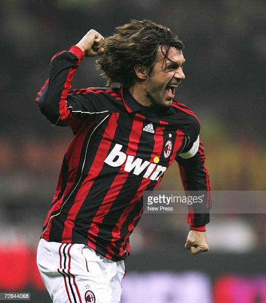 Paolo Maldini of AC Milan celebrates his goal during the Serie A match between AC Milan and Messina at the San Ciro stadium on November 25 2006 in...