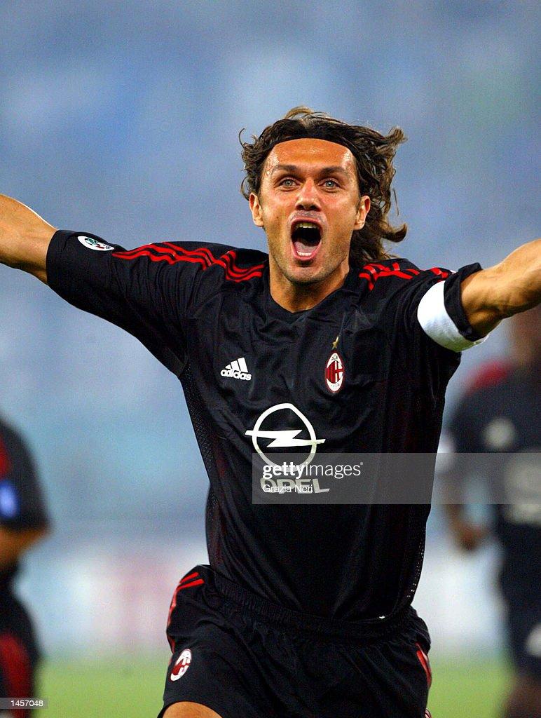 Paolo Maldini of AC Milan celebrates