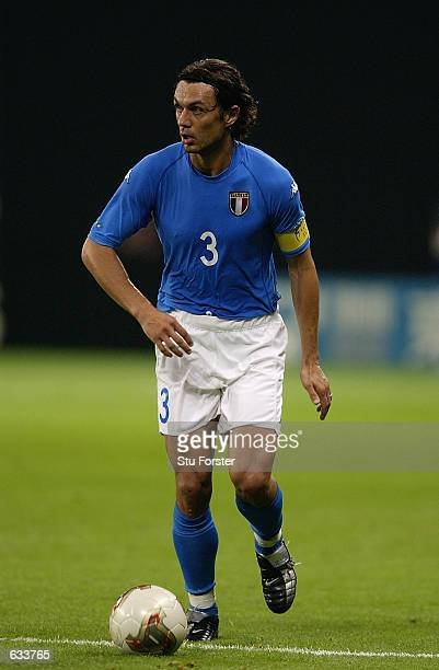 Paolo Maldini of Italy during the Italy v Ecuador Group G World Cup Group Stage match played at the Sapporo Dome Sapporo Japan on June 3 2002 Italy...