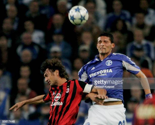 Paolo Maldini of Milan and Kevin Kuranyi of Schalke go up for a header during the UEFA Champions League Group E match between FC Schalke 04 and AC...