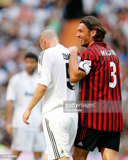 Paolo Maldini of Milan and Zinedine Zidane of Real Madrid in action during the Corazon Classic Match between Real Madrid and Milan on May 30 2010 in...