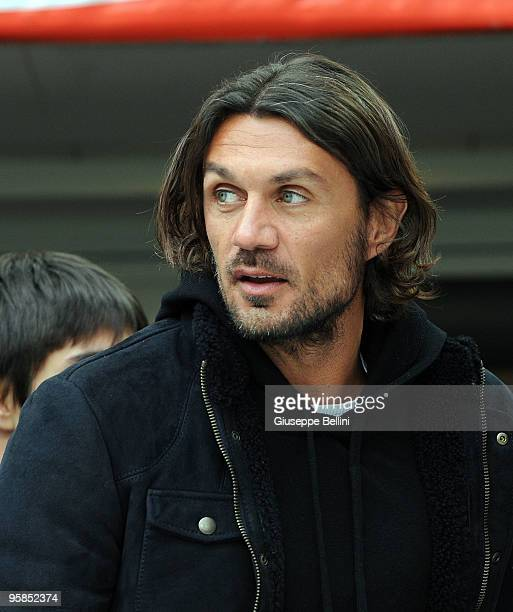 Paolo Maldini of Milan before the Serie A match between Milan and Siena at Stadio Giuseppe Meazza on January 17 2010 in Milan Italy