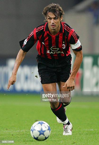 Paolo Maldini of Milan in action during the UEFA Champions League Group E match between FC Schalke 04 and AC Milan at the Veltins Arena on September...