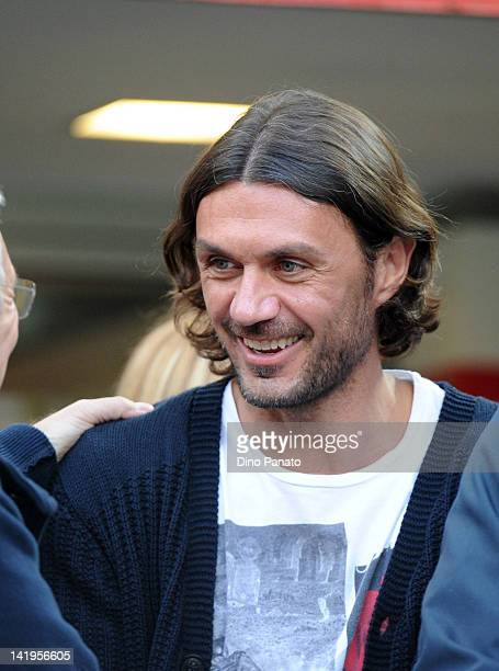 Paolo Maldini of Milan looks on during the Serie A match between AC Milan and AS Roma at Stadio Giuseppe Meazza on March 24 2012 in Milan Italy