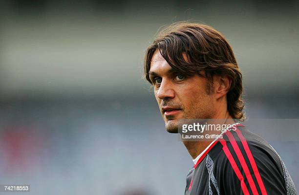 Paolo Maldini the Milan captain looks on during an AC Milan training session prior to the UEFA Champions League Final between AC Milan and Liverpool...