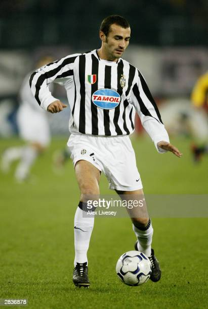 Paolo Montero of Juventus brings the ball out of defence during the UEFA Champions League Group D match between Juventus and Olympiakos held on...
