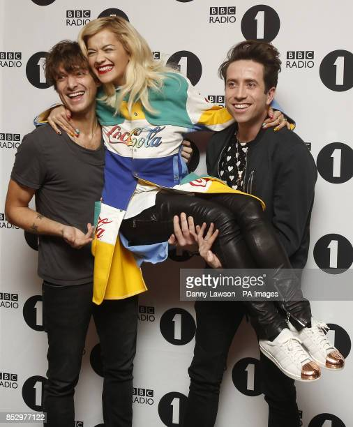 Paolo Nutini Rita Ora and BBC Radio 1 DJ Nick Grimshaw following his BBC Radio 1 Breakfast Show which was broadcast from BBC Scotland in Glasgow