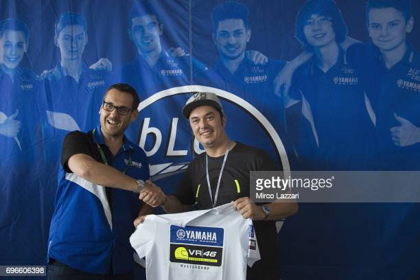Paolo Pavesio of Italy and Yamaha Motor Europe NV and Alessio Salucci of Italy and VR46 Riders Academy pose during the Yamaha R3 bLU cRU Challange...