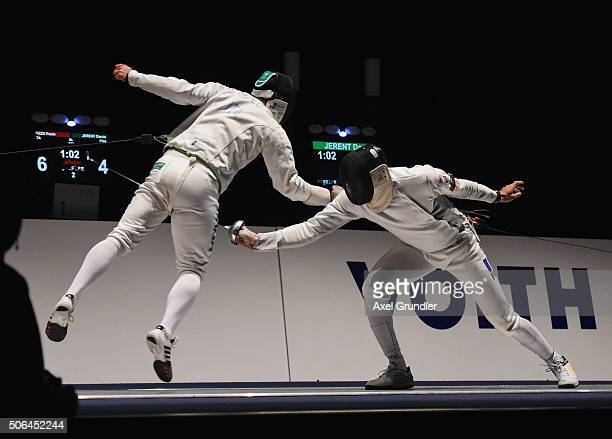 Paolo Pizzo of Italy and Daniel Jerent of France compete in the Men's Team Epee Final during the Fencing World Cup 2016 at Congress Cente on January...