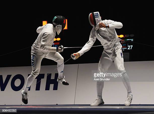 Paolo Pizzo of Italy and Yannick Borel of France compete in the Men's Team Epee Final during the Fencing World Cup 2016 at Congress Cente on January...